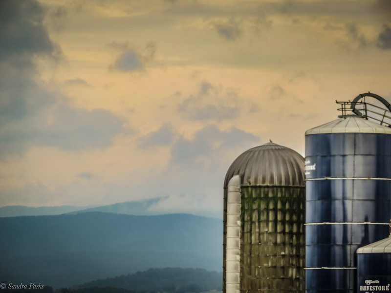 9-2-2020: Mountains and clouds, and silos too.