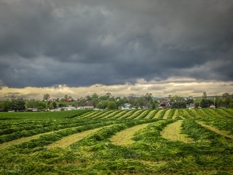 4-30-2020: Storm clouds and new hay