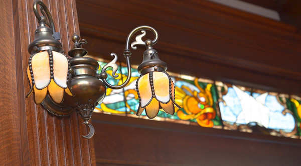 Vintage lamps and stained glass