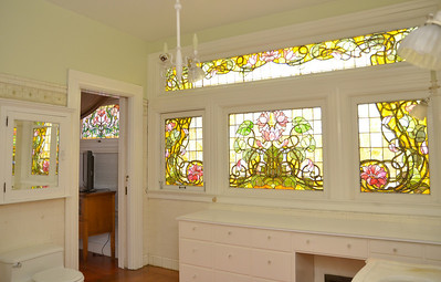 East view of the master bathroom stained glass