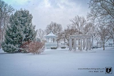 Another snowy day.  After an afternoon of sleigh riding and playing in the snow, I had to go out and get some pictures.  This is one of mye favorites of the Bandstand in Gallipolis.