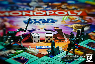 The boys played Star Wars Monoply the other day and left the dice out.  I set up this shot of the game board and a few pieces.  I used the Lensbaby Composer for the shot.  I love the bright colors of the game board.