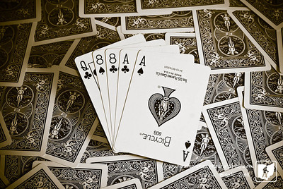 The infamous Aces and eights hand that was held by Wild Bill Hickok when he was murdered in 1876.  The deck of cards has been laying on the cofee table and I was thinking of a way to capture the cards.  The other night Wyatt Earp and Tombstone were on and got me thinking about the Dead Man's Hand.