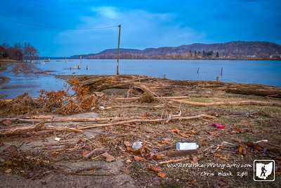 As the Ohio River returns to its banks it leaves behind a large amount of debris, both manmade and natural.  The logs, branches, bottles and trash come from many mile upstream  to be deposited as the waters recede.