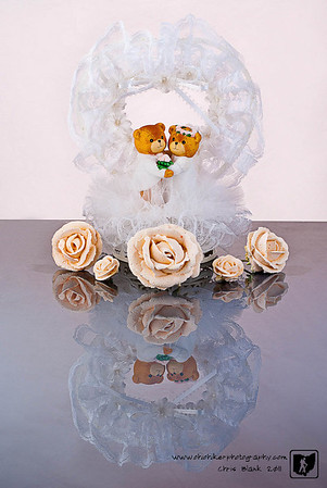 Today is Mine and Stephanie's 14th wedding anniversary.  We still have the cake topper and a few candy flowers off the cake.  I set these up for a photograph this evening.