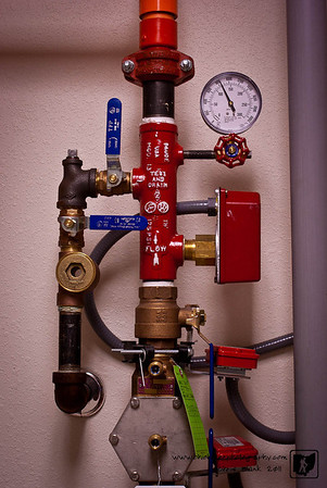 The inlet and manifold for the sprinkler system at the station is relatively small, but to me it looks like a plumbing nightmare.  Just give me my PVC glue and pipe any day.