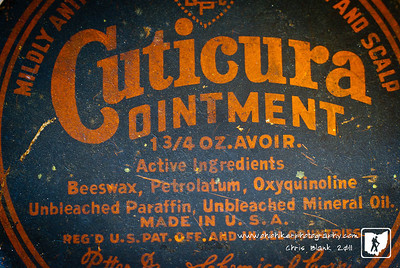 I found this old jar that used to have Cuticura OIntment in it.  I am not sure how old this jar is but I am amazed they still make Cuticura Ointment.  The ointment is long gone but the jar is now used to store small tacks.  I loved the orange contrasted against the black and the font used on the lid.