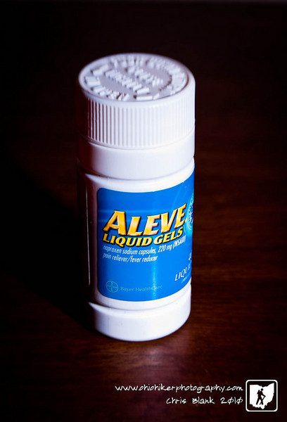 I have a headache this evening so I grabbed my Aleve bottle at work.  I also grabbed my Lensbaby Composer to make this photograph.