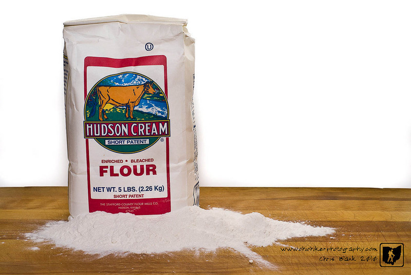 After breading and frying pork chops tonight I had made a mess with the flour.  So I decided to setup and photograph the flour, Hudson Cream of course.