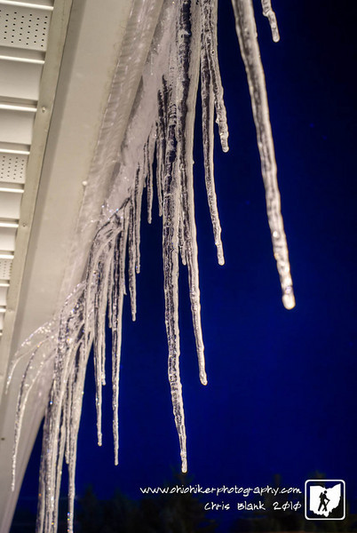 In the cold winter icicles are found hanging off roofs every where.  These are hanging off our station and are about 2 feet long.