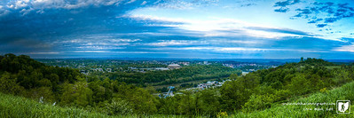 Today I was in Morgantown for a class at WVU Medical center.  On my drive in I noticed this overlook and found my way up for a panoramic photo of downtown Morgantown.