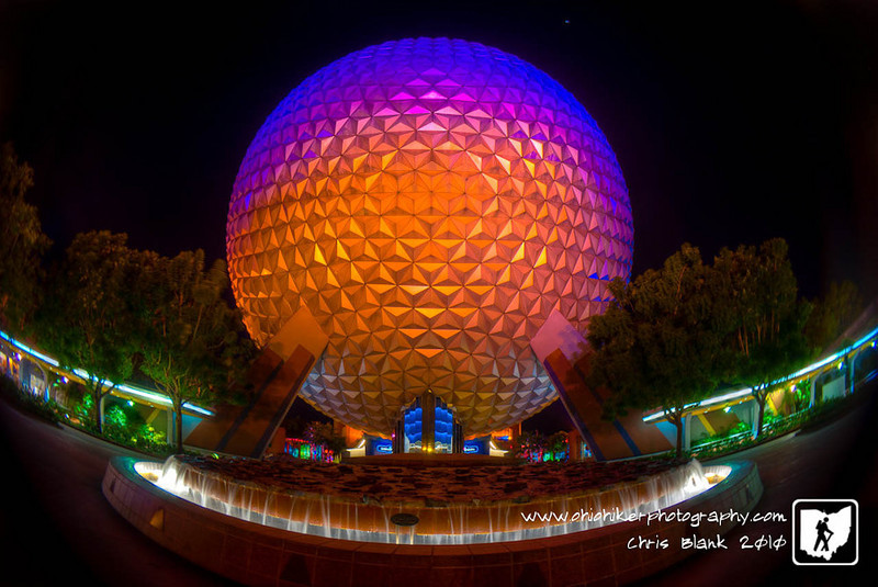 After a long day at EPCOT who can resist to glow of Spaceship Earth.