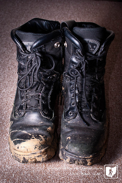 Working tonight out in the mud and rain.  Just glad my boots are waterproof.