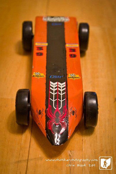 Tomorrow we begin cutting out cars for the annual Cub Scout Pinewood Derby.  This car is from  a few years ago.  It was Trevor's Grand Champion car.  Maybe this year he will win again.
