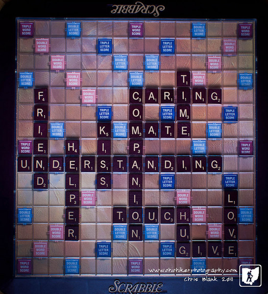 Sitting around this evening with the love of my life.  I got the Scrabble board out for my picture and together we put together some words to describe our love for each other.