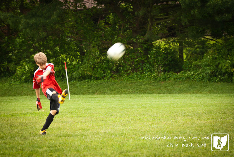 Today was the last day of the Marietta Classic Soccer Tournament.  This was the first time the U10 division played at this level and they did very well.  They have more to learn.  Here Trevor, who was goalkeeper, is clearing the ball during a goal kick.