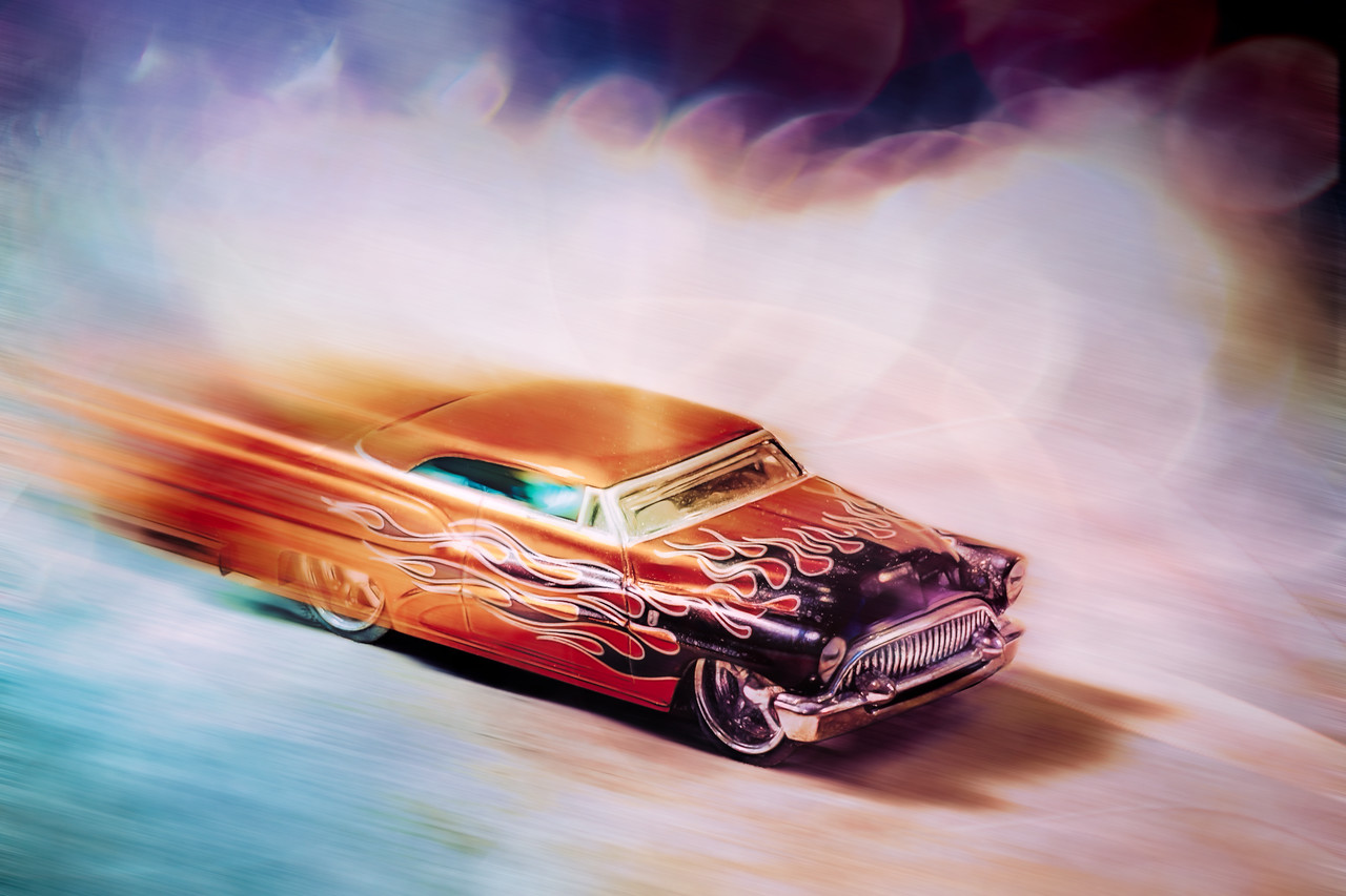 This is my mini 1/64th scale 1953 Buick Century vintage toy hot rod car. I had fun with the processing. :-)