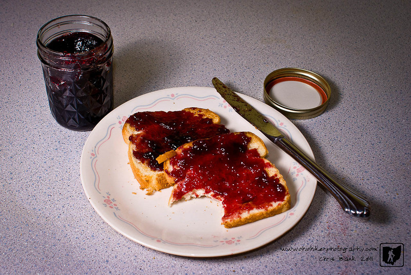 Every summer I go out and pick wild blackberries.  Usually around the 4th of July I pick for about 2 weeks.  Most of the berries get processed into home made blackberry jelly. There is nothing like blackberry jelly on warm toast.