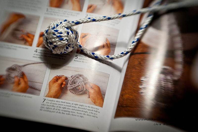 I enjoy tying knots and have tried this knot several times.  So with much practice I finally got this knot.  So tonight I photographed it and one of my knot books.