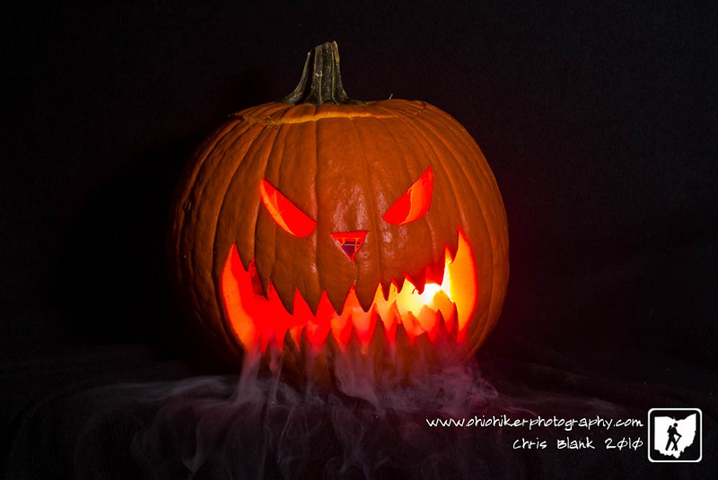 I love carving pumpkins at Halloween.  This is one of the Jack-O-Lanterns I carved.  I also had some dry ice left over from yesterday's Trick-Or-Treat set for the fog.