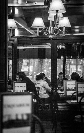 Smokers on the terrace, Cafe l'Aquarium, Paris.