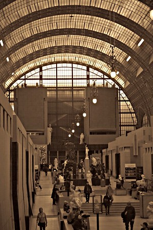 Grand hall of the Musee d'Orsay, Paris, formerly a train station