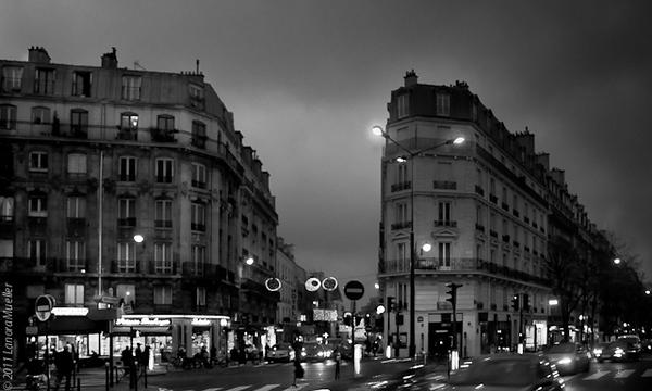 Paris boulevard on a wet winter evening