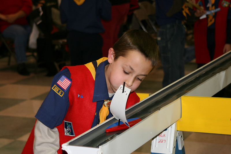 Day 123 ~ Rain gutter Regatta<br /> <br /> Pack 227 has it's annual Rain Gutter Regatta.  Here my son races his sailboat Y-43 which is the same number of our C-Scow that we race in the summer.