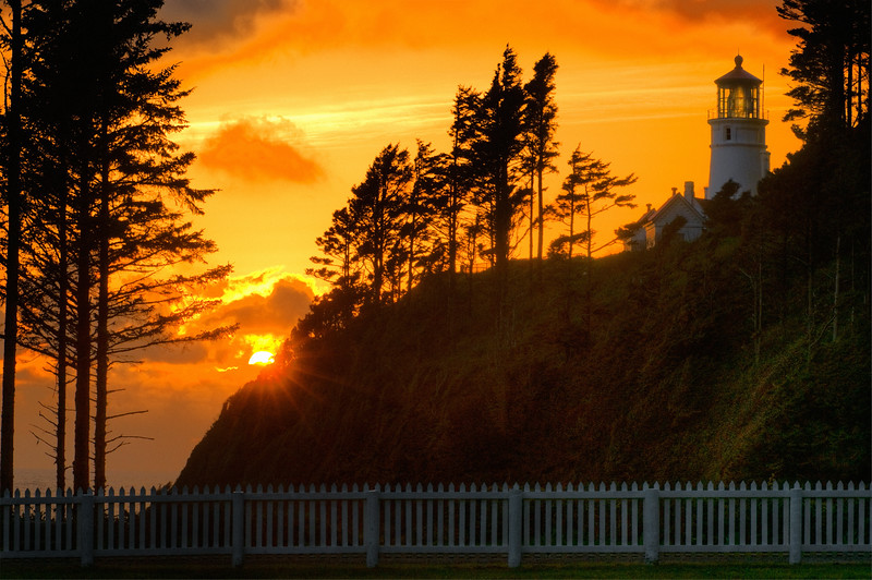 Heceta Head At Sunset