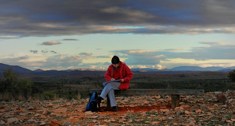 "Allisons Gap : Rawnsley Park : Flinders Ranges :South Australia.<br /> ""Waiting for the magic light.""<br /> My soul mate Sophie ,the one who lets me <br /> be who "" I "" want to be."