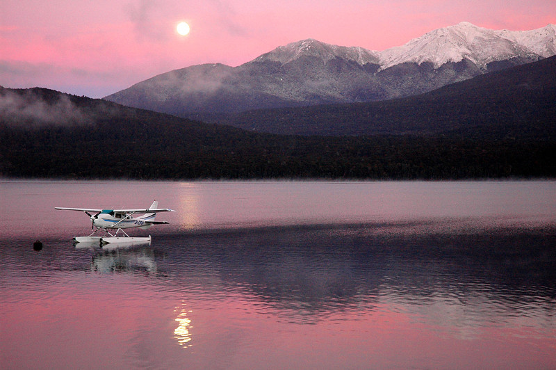 Sunrise, moon-set, Lake Manapouri