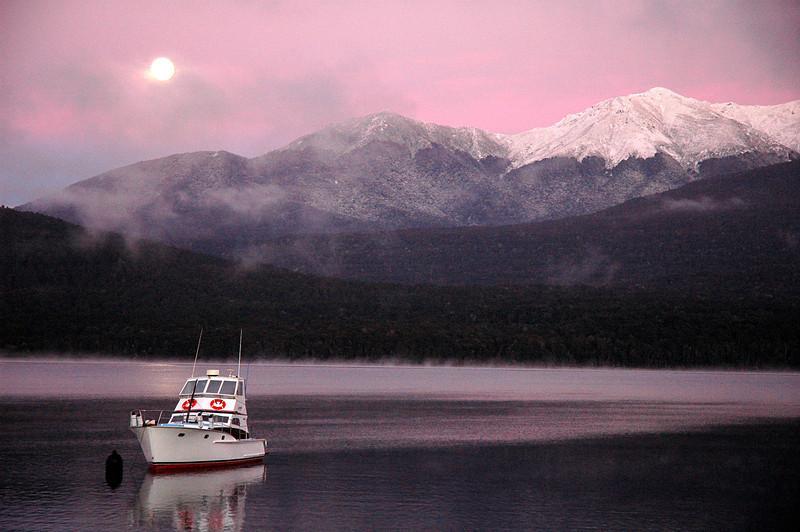 Sunrise, moon-set, Lake Manapouri