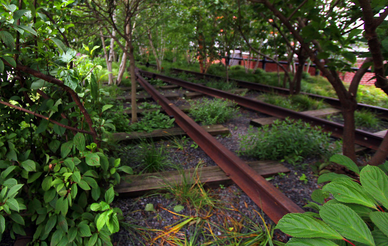 Old Railroad tracks on the Highline NYC