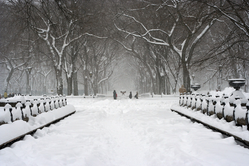 Central Parks Grand Promenade in the snow
