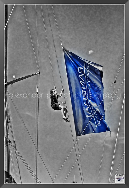 B&W Flag with Moon 2013 Les Voiles d'Antibes  copyright © photo Alexander Panzeri