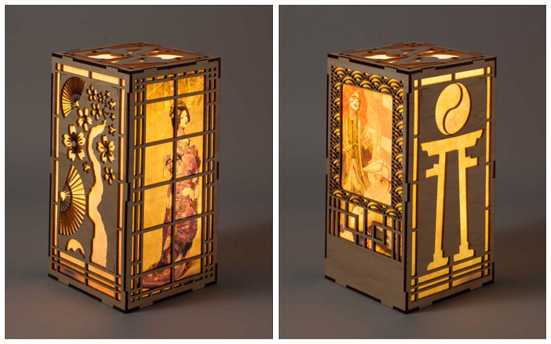 ADIM 14 main project: laser-cut Japanese wood lantern with washi paper inserts