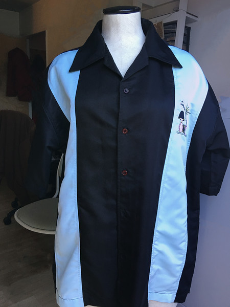 ADIM 7 secondary project: embroidered bowling shirt (final product)