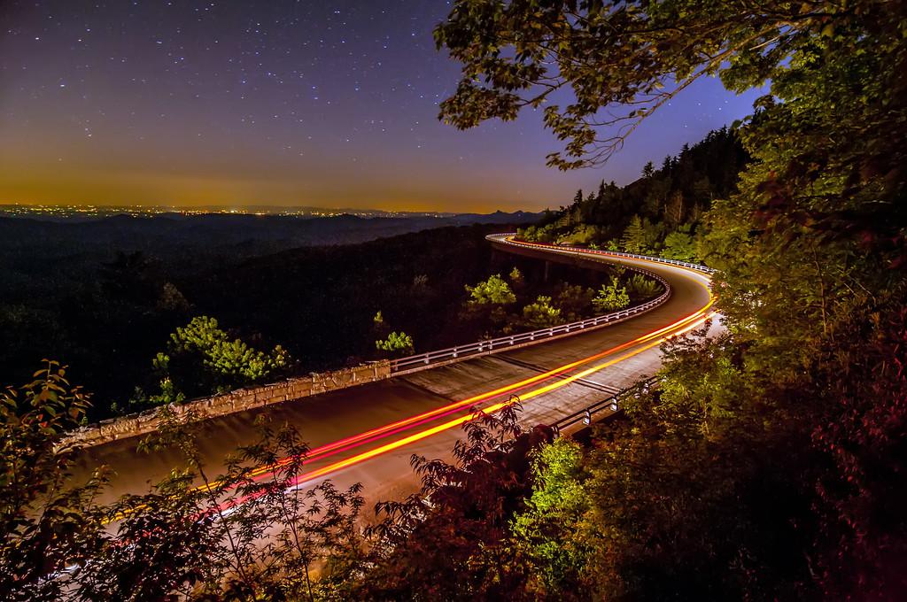 linn cove viaduct at night
