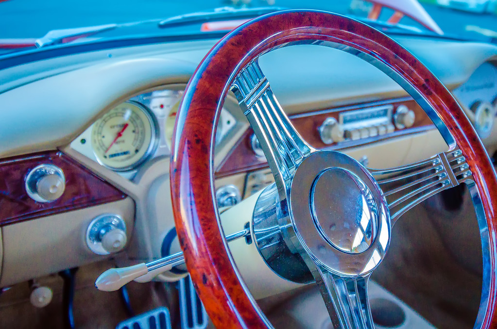 classic car steering wheel dashboard