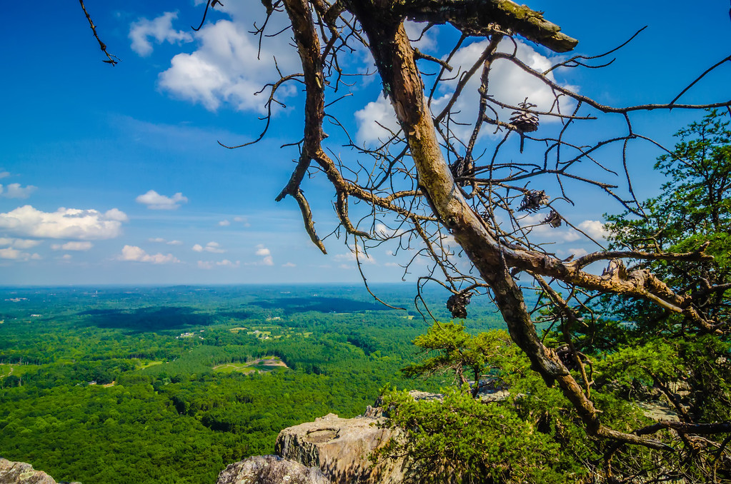 beautiful aerial landscape views from crowders mountain north carolina