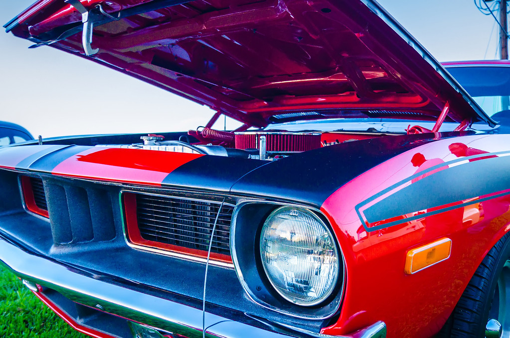 under the hood of a classic muscle car