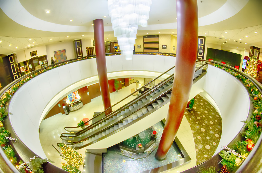 modern interior of a luxury hotel with escalators