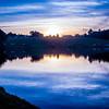 fishing lake at  sunset