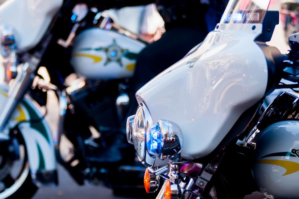 clseup of sheriff motorcycle