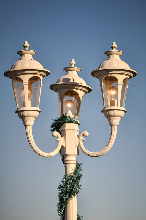 beautiful classic street lamp post by the street