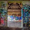 abandoned building walls full of graffiti