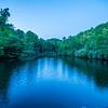 North Carolina Grandfather Mountain Julian Price Memorial Park Lake Blue Hour with moon
