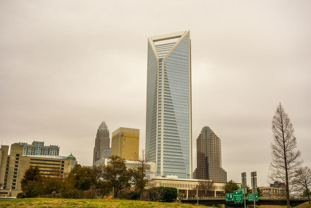 overcast clouds over charlotte city  skyline