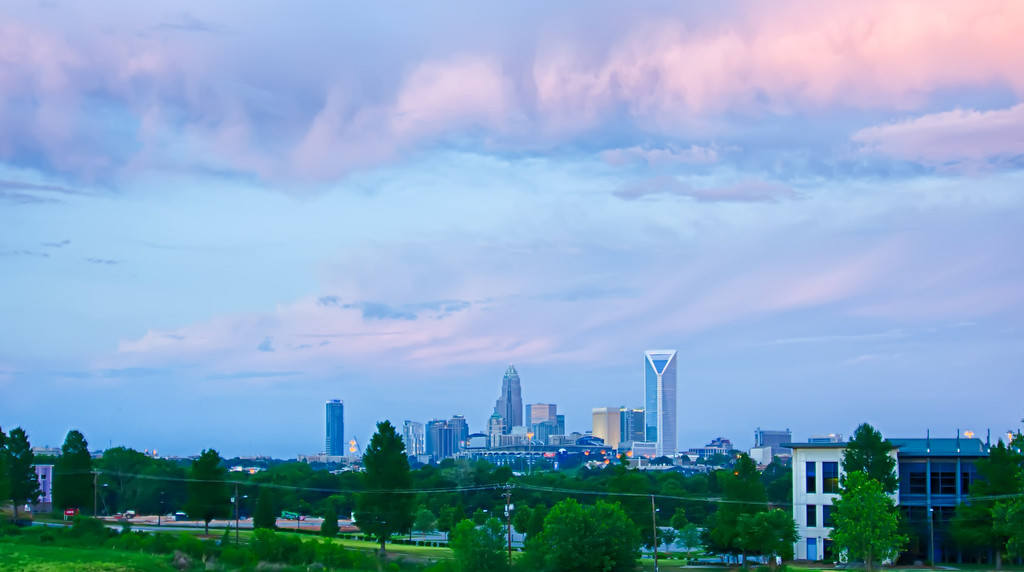 looking at charlotte the queen city financial district from a distance