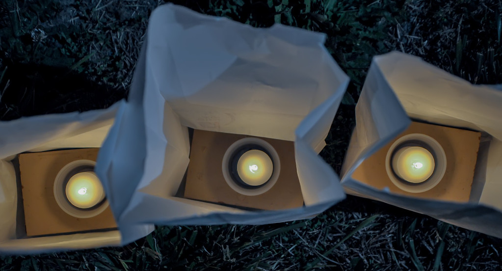 candles in white paper bag  close up shot